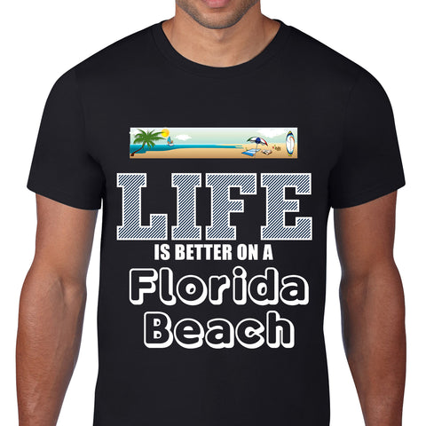 Florida Beach Black T-Shirt
