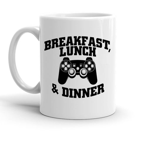 Custom Personalized Game Breakfast, Lunch And Dinner White 15 oz Coffee Mug