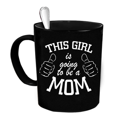 Custom Personalized Going To Be A Mom Black 15 oz Coffee Mug