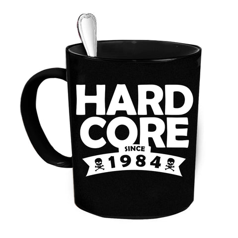 Custom Personalized Hard Core Since 1984 Black 15 oz Coffee Mug