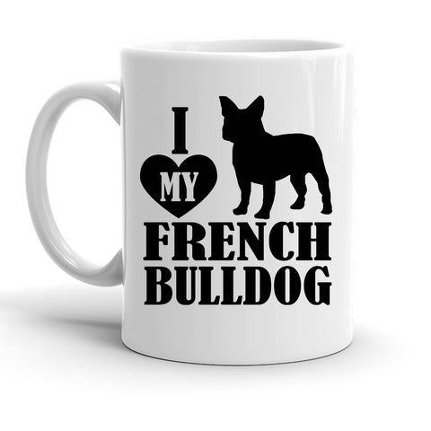 Custom Personalized Heart French Bulldog White 15 oz Coffee Mug