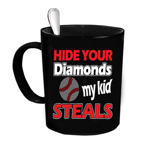 Custom Personalized Hide Your Diamonds Black 15 oz Coffee Mug
