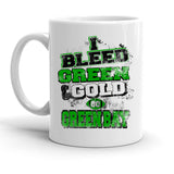 Custom Personalized I Bleed Green And Gold Greenbay White 15 oz Coffee Mug