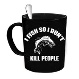 Custom Personalized I Fish So I Dont Kill People Black 15 oz Coffee Mug