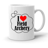 Custom Personalized I Heart Field Archery White 15 oz Coffee Mug