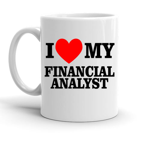 Custom Personalized I Heart Financial Analyst White 15 oz Coffee Mug