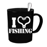 Custom Personalized I Heart Fishing Black 15 oz Coffee Mug