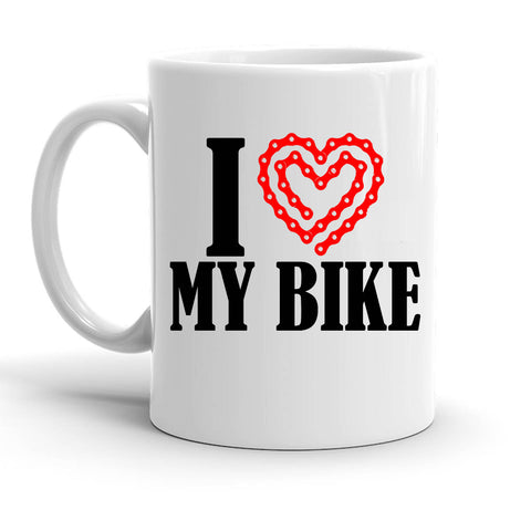 Custom Personalized I Heart My Bike White 15 oz Coffee Mug