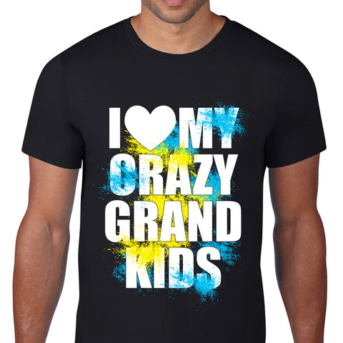 I Heart My Crazy Grand Kids Black T-Shirt