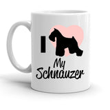 Custom Personalized I Heart My Schnauzer White 15 oz Coffee Mug