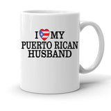 Custom Personalized I Heart Puerto Rican Husband White 15 oz Coffee Mug