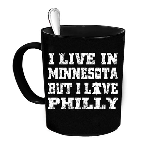 Custom Personalized I Live In Philly Black 15 oz Coffee Mug