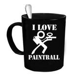 Custom Personalized I Love Paintball Black 15 oz Coffee Mug