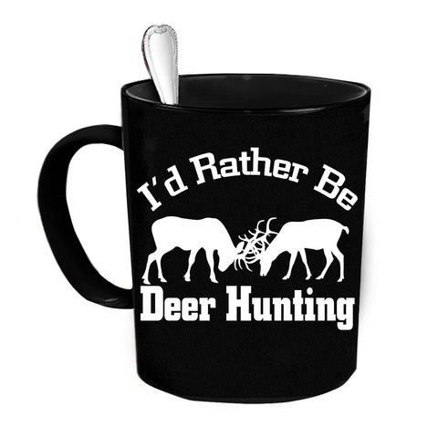 Custom Personalized I'd Rather Be Deer Hunting Black 15 oz Coffee Mug