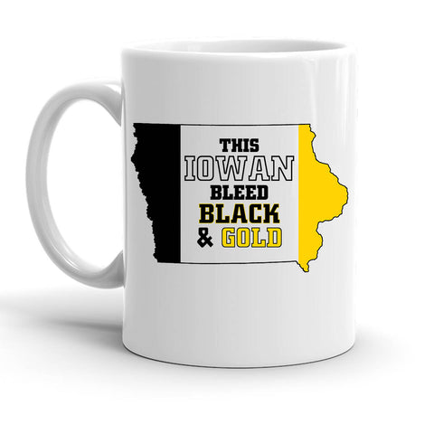 Custom Personalized Iowan Black And Gold White 15 oz Coffee Mug