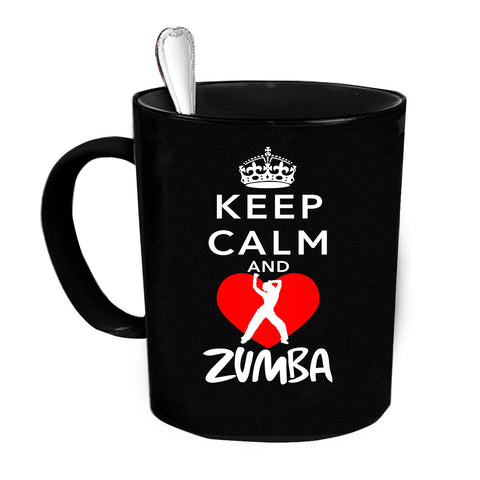 Custom Personalized Keep Calm And Zumba Black 15 oz Coffee Mug