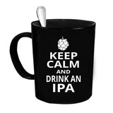 Custom Personalized Keep Calm Drink IPA Black 15 oz Coffee Mug