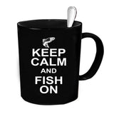 Custom Personalized Keep Calm Fish On Black 15 oz Coffee Mug