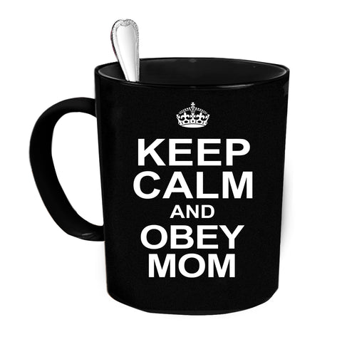 Custom Personalized Keep Calm Obey Mom Black 15 oz Coffee Mug