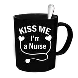 Custom Personalized Kiss Me Im A Nurse Black 15 oz Coffee Mug