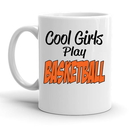 Custom Personalized Cool Girls Basketball White 15 oz Coffee Mug