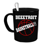 Custom Personalized Deeetroit Basketball Black 15 oz Coffee Mug