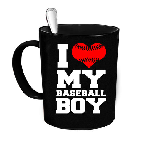 Custom Personalized I Love My Baseball Boy Black 15 oz Coffee Mug