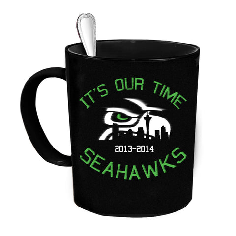 Custom Personalized Our Time Seahawks Black 15 oz Coffee Mug