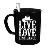 Custom Personalized Live Love Line Dance Black 15 oz Coffee Mug