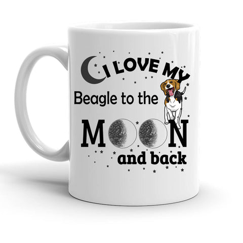 Custom Personalized Love My Beagle Moon White 15 oz Coffee Mug