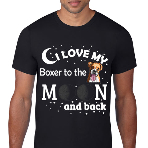 Love My Boxer Moon Black T-Shirt