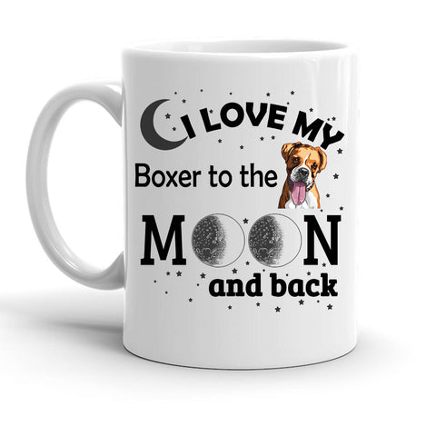 Custom Personalized Love My Boxer Moon White 15 oz Coffee Mug
