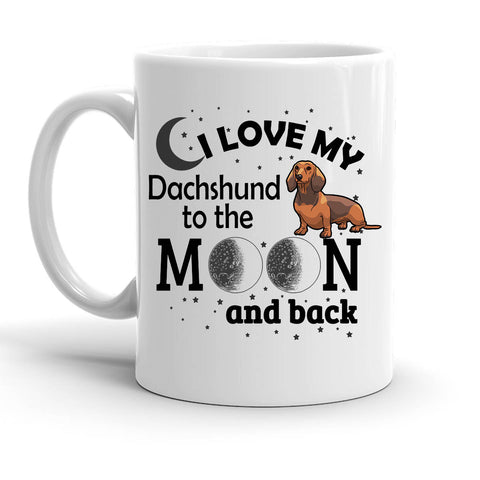 Custom Personalized Love My Dachshund Moon White 15 oz Coffee Mug