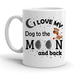 Custom Personalized Love My Dog Moon White 15 oz Coffee Mug