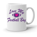 Custom Personalized Love My Football Boy White 15 oz Coffee Mug