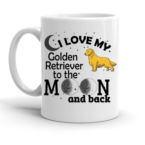 Custom Personalized Love My Retriever Moon White 15 oz Coffee Mug