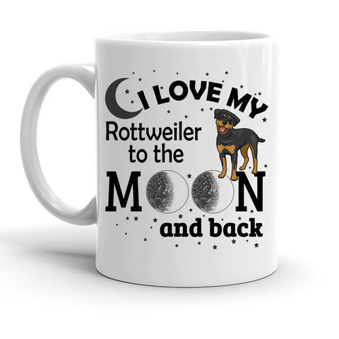 Custom Personalized Love My Rottweiler Moon White 15 oz Coffee Mug