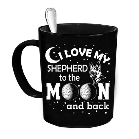 Custom Personalized Love My Shepherd Moon Black 15 oz Coffee Mug