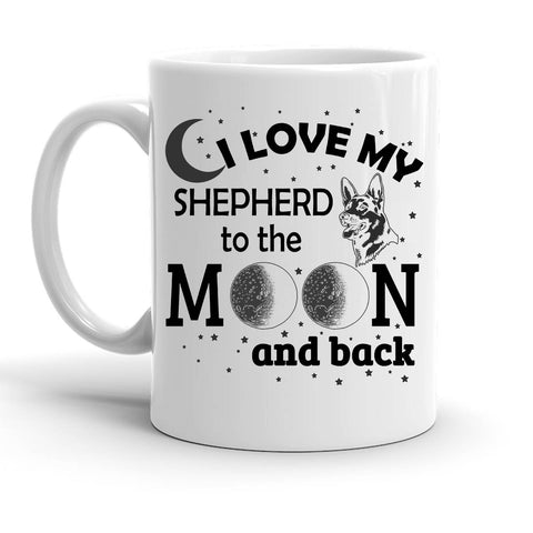 Custom Personalized Love My Shepherd Moon White 15 oz Coffee Mug