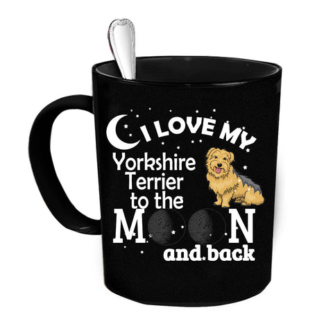 Custom Personalized Love My York Terrier Moon Black 15 oz Coffee Mug