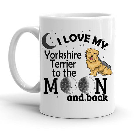 Custom Personalized Love My York Terrier Moon White 15 oz Coffee Mug