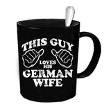 Custom Personalized Loves German Wife  Black 15 oz Coffee Mug