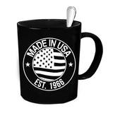 Custom Personalized Made In USA 1966 Black 15 oz Coffee Mug