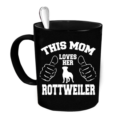 Custom Personalized Mom Loves Her Rottweiler Black 15 oz Coffee Mug