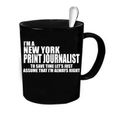 Custom Personalized New York Print Journalist Black 15 oz Coffee Mug