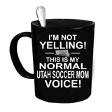 Custom Personalized Not Yelling Utah Soccer Mom Black 15 oz Coffee Mug