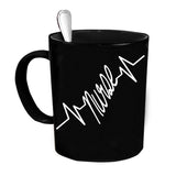 Custom Personalized Nurse Heartbeat Black 15 oz Coffee Mug