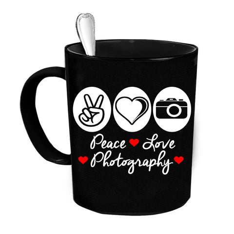 Custom Personalized Peace Love Photography Black 15 oz Coffee Mug