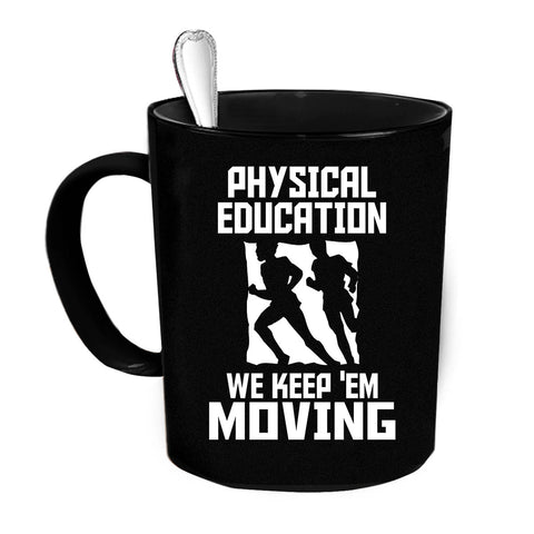 Custom Personalized Physical Education Black 15 oz Coffee Mug