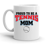 Custom Personalized Proud Tennis Mom White 15 oz Coffee Mug